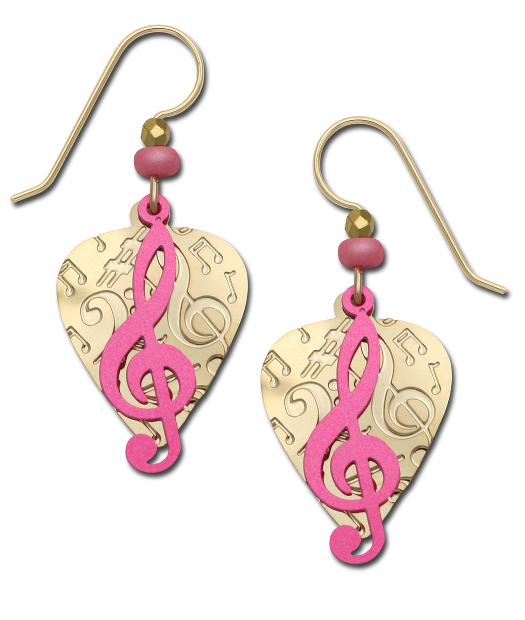 Sienna Sky Pink Treble Clef and Guitar Pick Musical Handmade Earrings