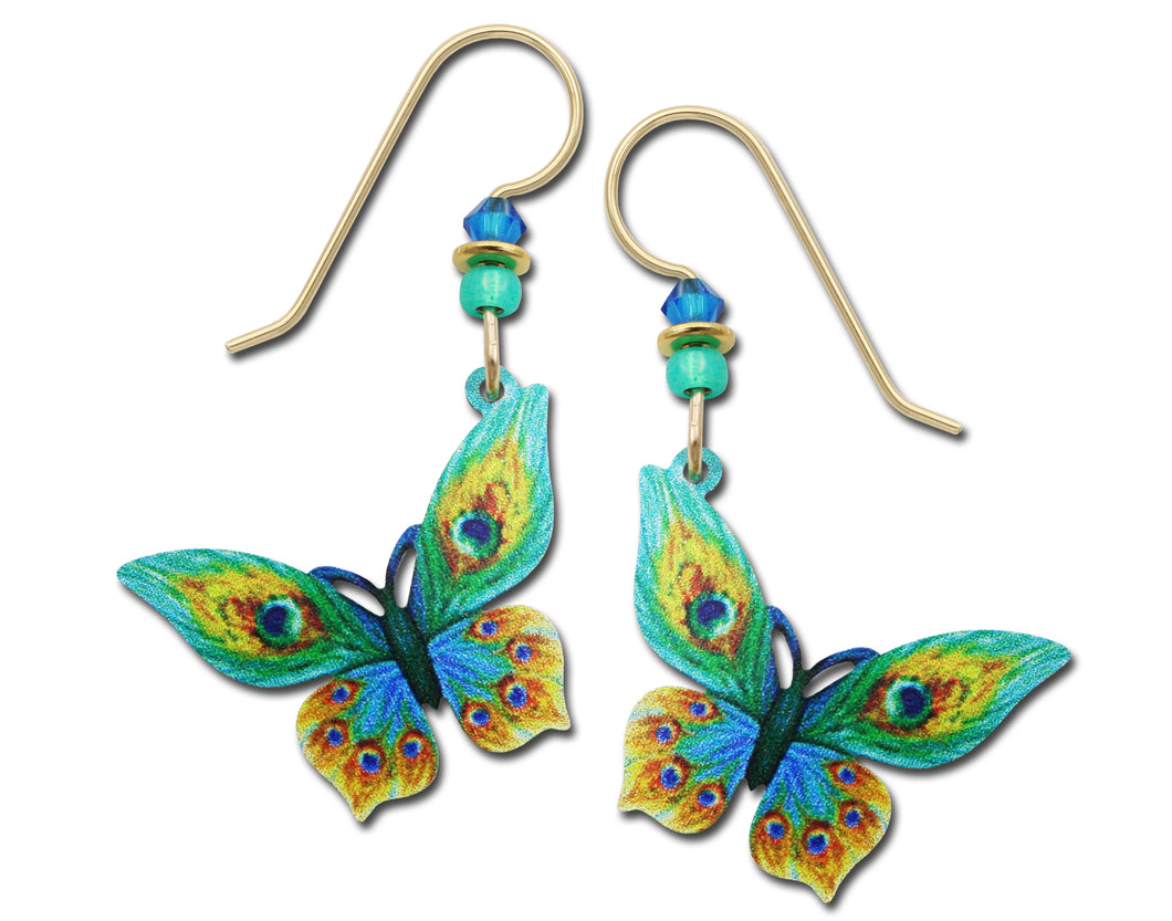 Sienna Sky Peacock Feather Green and Yellow Butterfly UV Printed Handmade Earrings