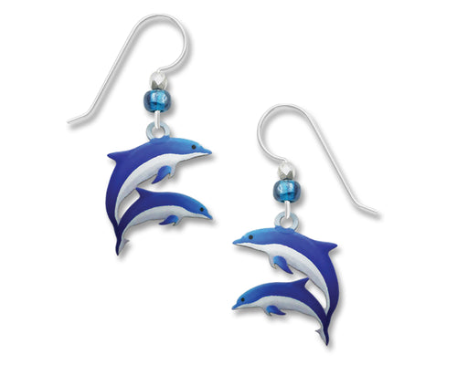 Sienna Sky Blue and White Dolphins UV Printed Handmade Earrings