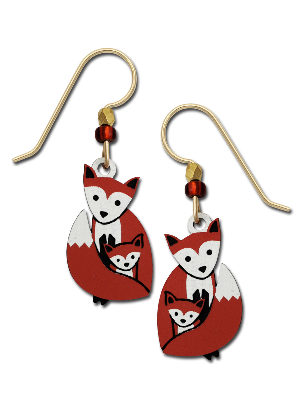 Sienna Sky Mother Fox Holding Baby Hand Painted Earrings