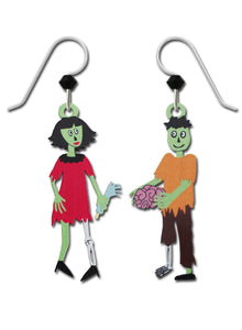 Sienna Sky Zombie Monster Couple Earrings Hand Painted