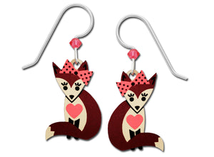 Sienna Sky Girl Fox with Pink Heart and Bow Hand Painted Earrings