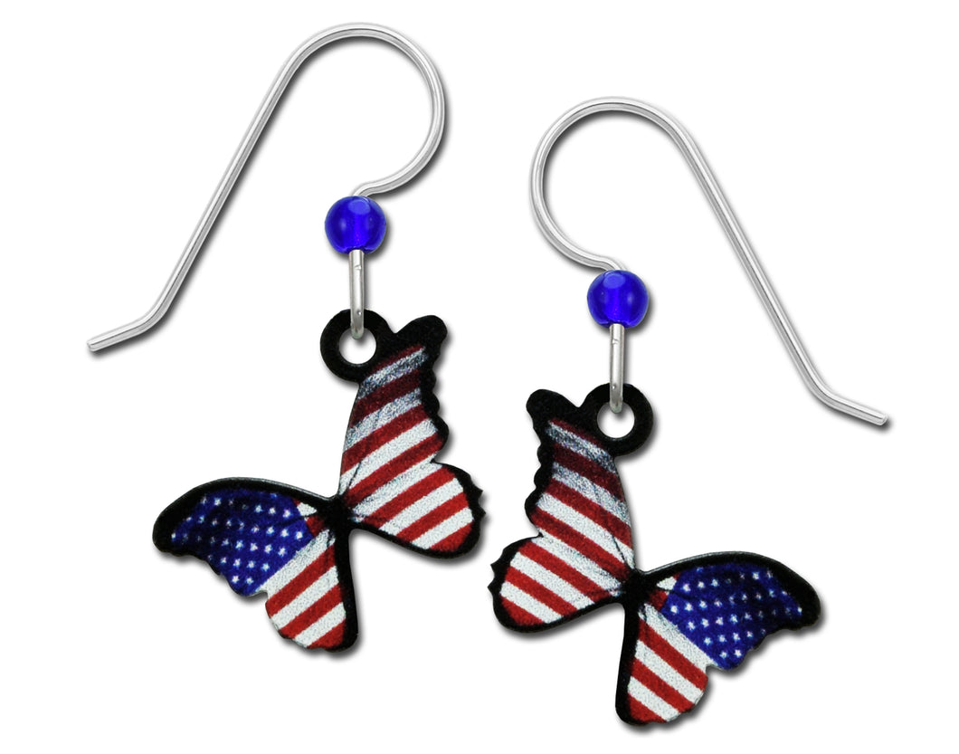 Sienna Sky USA Flag Patriotic Butterfly Red White Blue Handmade Earrings