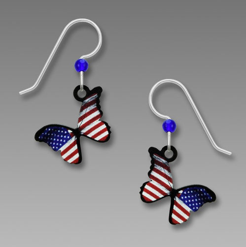USA Flag Patriotic Butterfly Red White Blue Handmade Earrings