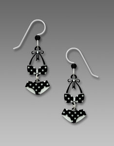 Sienna Sky Vintage Retro Black White Polka Dot Bikini Hand Painted Earrings