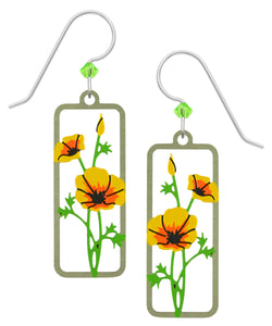 Sienna Sky Yellow California Poppies Framed Flower Hand Painted Earrings