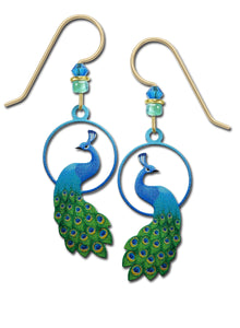 Sienna Sky Blue and Green Peacock Bird UV Printed Handmade Earrings