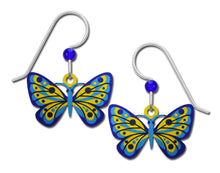 Sienna Sky Blue and Yellow Butterfly Hand Painted Earrings