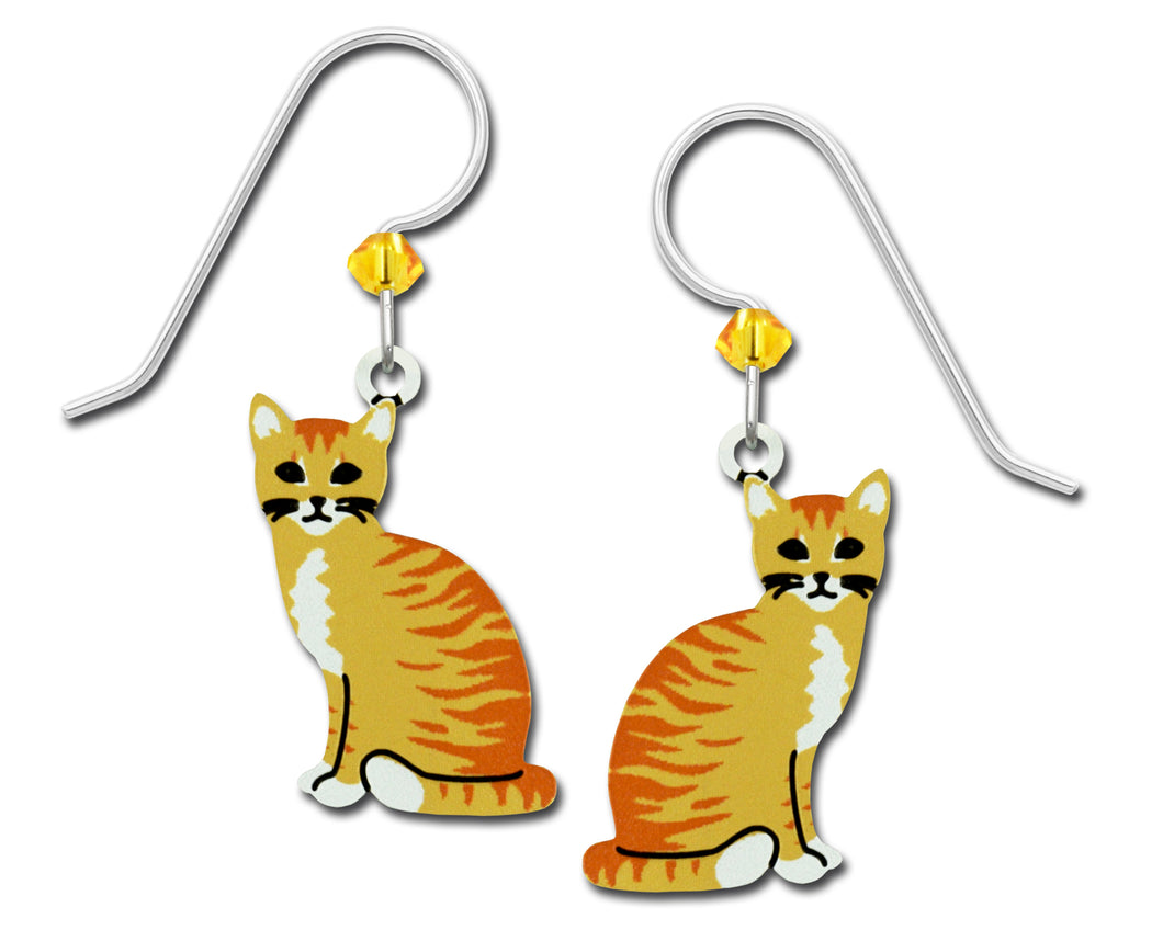 Sienna Sky Orange Tabby Striped Cat Hand Painted Earrings