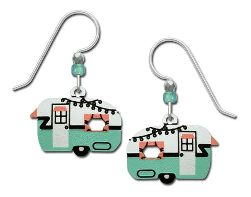 Sienna Sky Vintage Retro Camper Travel Trailer Aqua and Pink Hand Painted Earrings