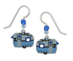 Sienna Sky Vintage Retro Camper Travel Trailer Blue and Grey Hand Painted Earrings