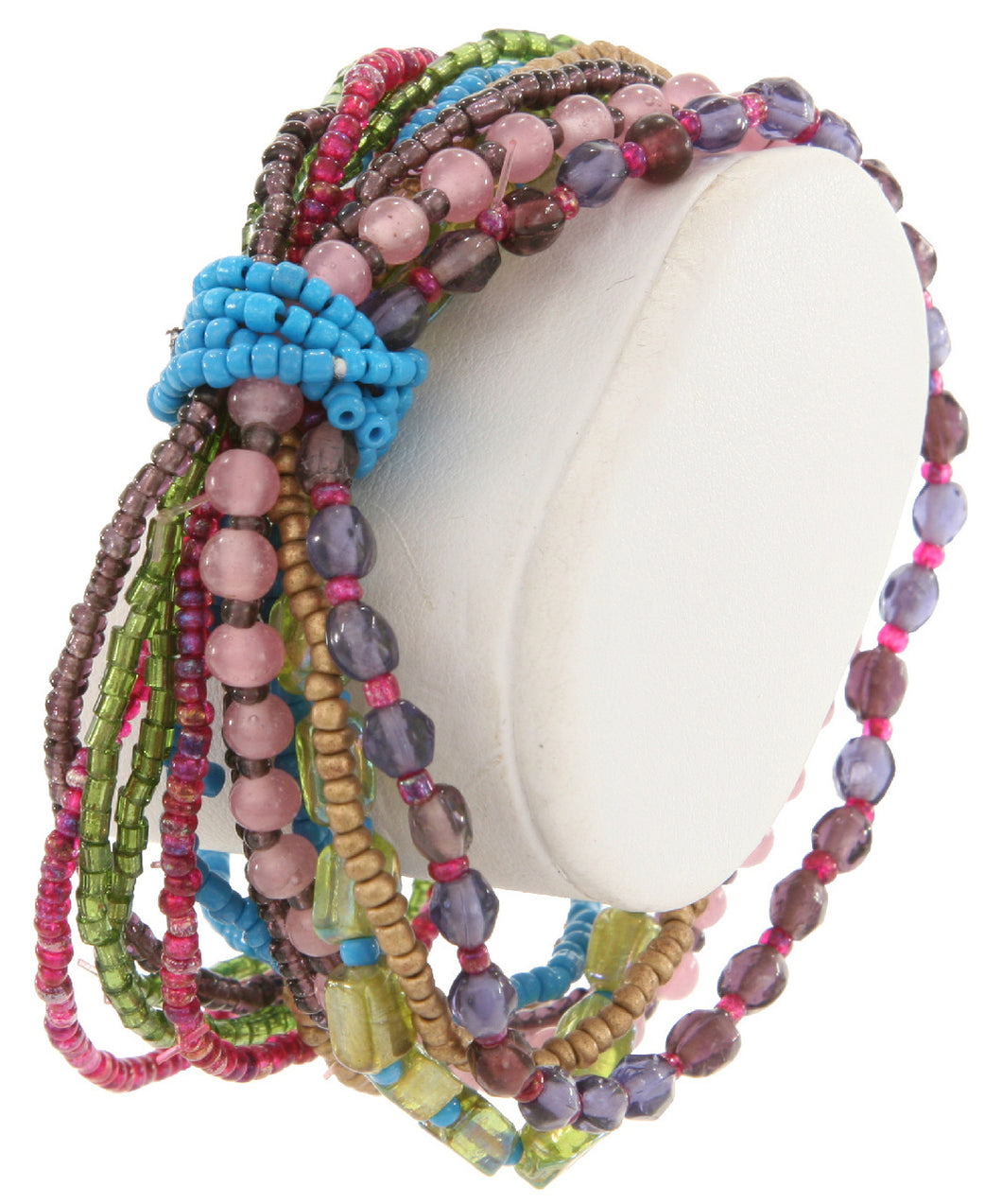 Handmade Glass Bead Multi Strand Stretch Bracelet