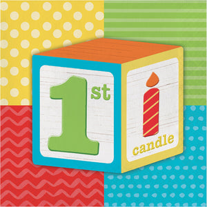 1st Birthday Party Supplies for 16 - Plates Napkins Tablecloth High Chair Kit Balloons