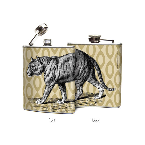 Oso and Bean Tiger Designer Art Hip Flask