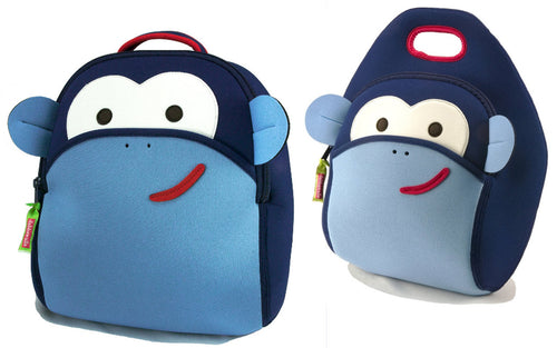 Dabbawalla Monkey See Monkey Do Kids Backpack Lunch Bag Set