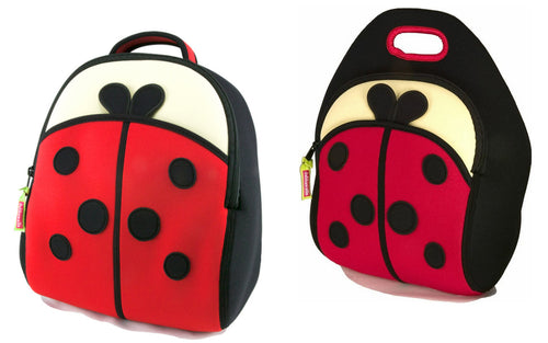 Dabbawalla Cute As A Bug Ladybug Kids Backpack Lunch Bag Set