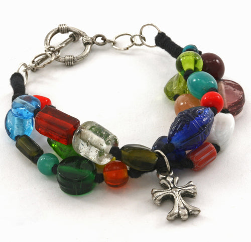 Colorful Glass Bead 3 Strand Cross Charm Fair Trade Bracelet