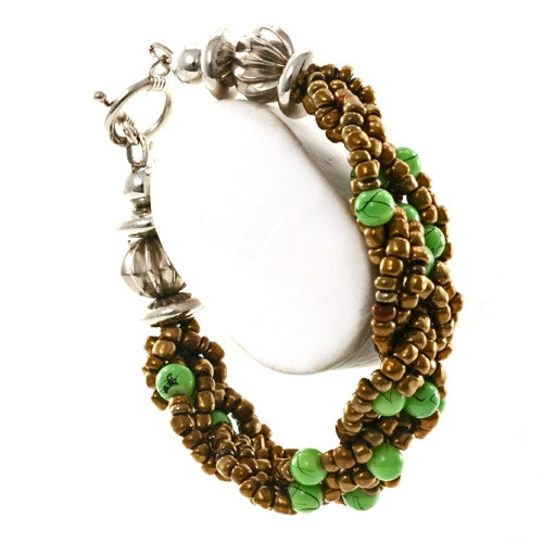 Braided Bead Bronze and Green Fair Trade Bracelet from Java