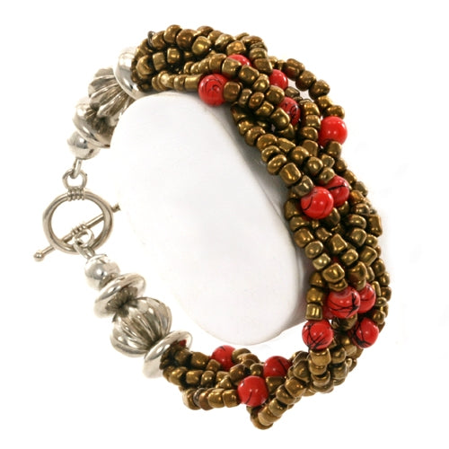 Braided Bead Bronze and Orange Fair Trade Bracelet from Java