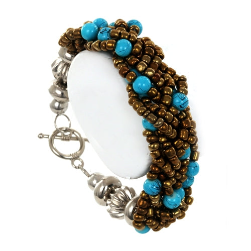 Braided Bead Bronze and Blue Fair Trade Bracelet from Java