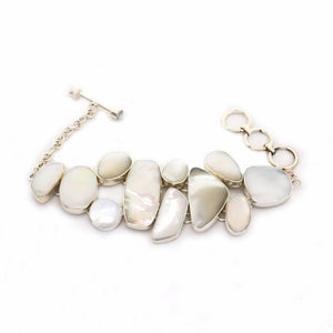 Abstract Mother of Pearl Silver Plated Fair Trade Bracelet from Bali