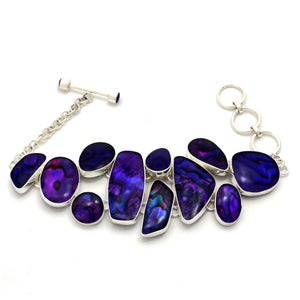 Abstract Purple Paua Shell Silver Plated Fair Trade Bracelet from Bali