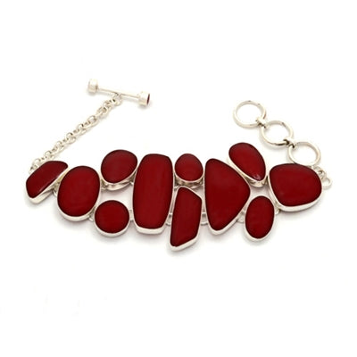 Abstract Red Stone Silver Plated Fair Trade Bracelet from Bali