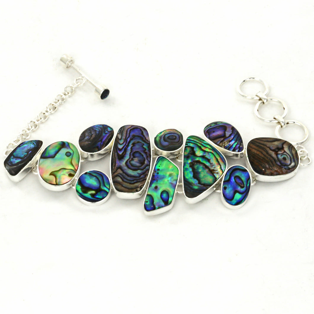 Abstract Multicolored Paua Shell Silver Plated Fair Trade Bracelet from Bali