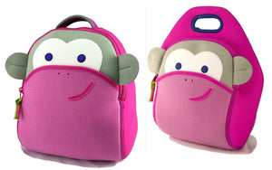 Dabbawalla Blushing Monkey Kids Pink Backpack Lunch Bag Set