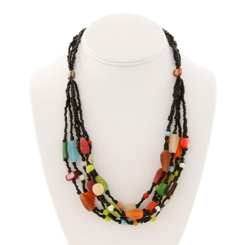 Bali Colorful Stone Bead Multi Strand Necklace
