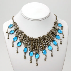 Handmade Silver and Blue Chainmaille Bib Necklace