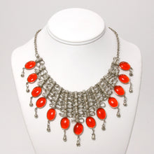 Handmade Silver and Orange Chainmaille Bib Necklace