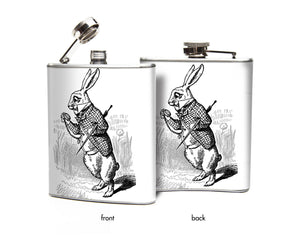 Oso and Bean Alice in Wonderland White Rabbit Designer Art Hip Flask