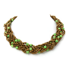 Braided Bead Bronze and Green Fair Trade Necklace from Java
