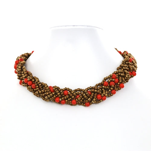 Braided Bead Bronze and Orange Fair Trade Necklace from Java
