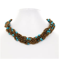 Braided Bead Bronze and Blue Fair Trade Necklace from Java
