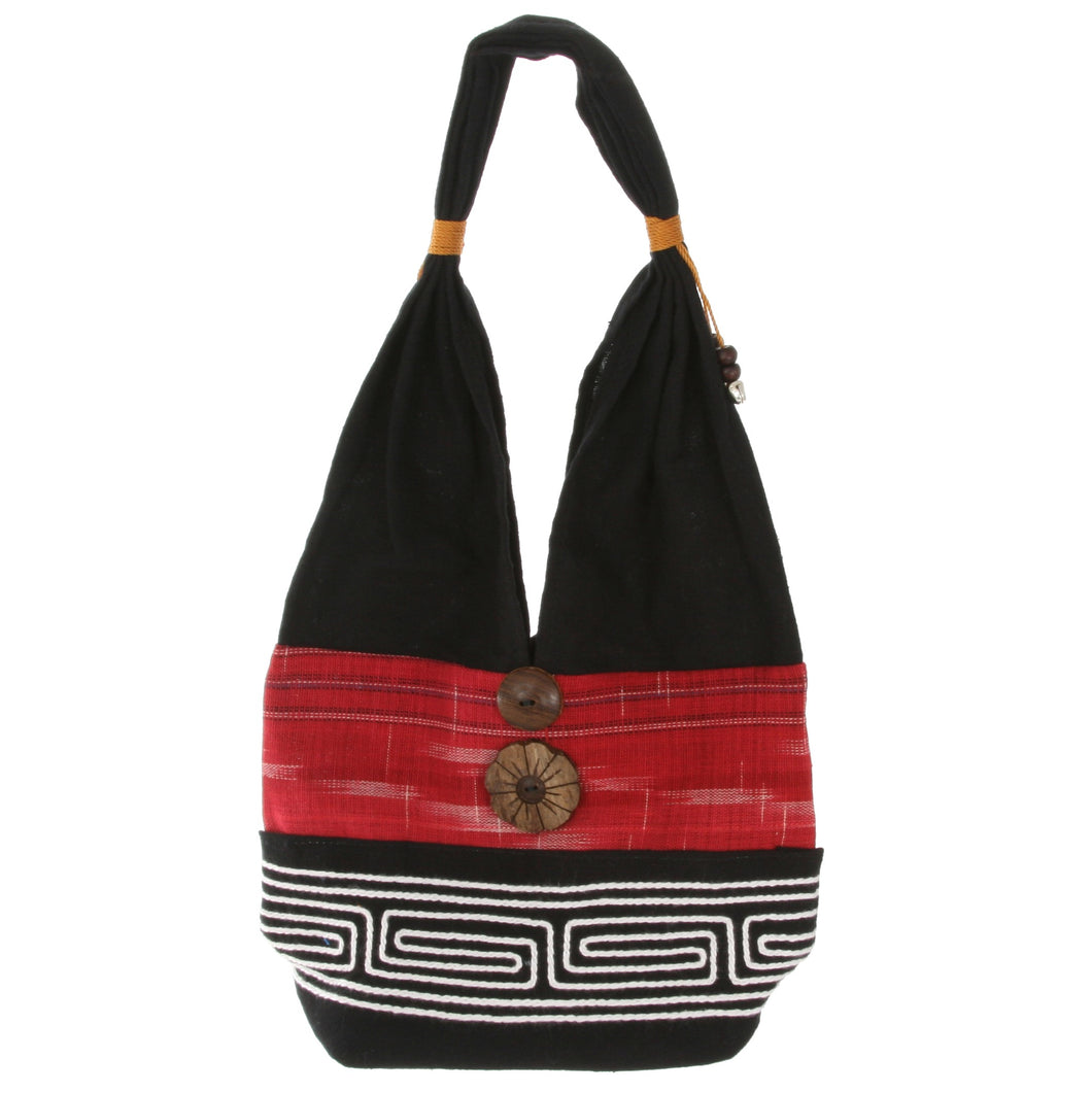 Dark Red and Black Handmade Fair Trade Shoulder Handbag from Thailand