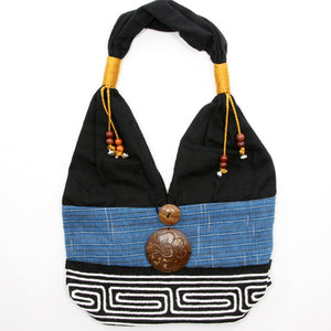 Blue and Black Handmade Fair Trade Shoulder Handbag from Thailand