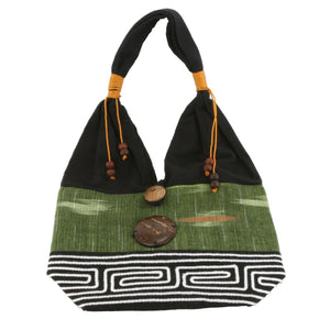 Lime Green and Black Handmade Fair Trade Shoulder Handbag from Thailand