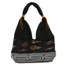 Black Handmade Fair Trade Shoulder Handbag from Thailand