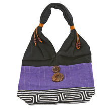 Purple and Black Handmade Fair Trade Shoulder Handbag from Thailand