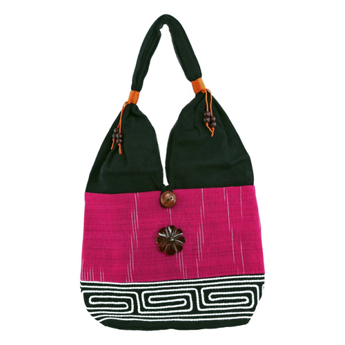 Dark Pink and Black Handmade Fair Trade Shoulder Handbag from Thailand