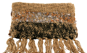Fair Trade Thai Woven Tan with Stripes and Loops Handmade Scarf