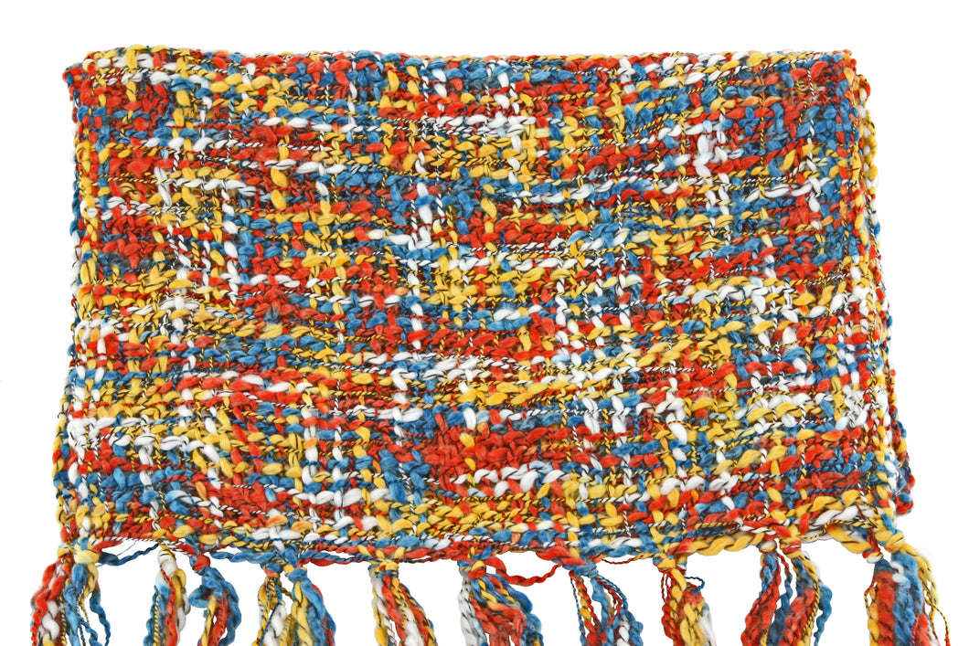 Fair Trade Thai Woven Teal Orange Yellow Handmade Scarf