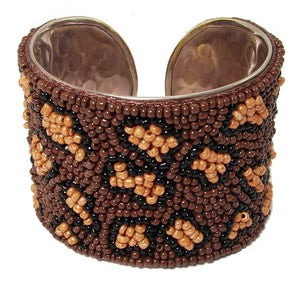 Beaded Leopard Fair Trade Cuff Bracelet