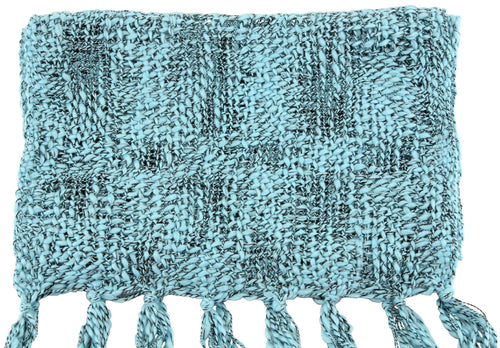 Handmade Thai Woven Sky Blue and Black Scarf
