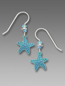 Blue Starfish Hand Painted Earrings