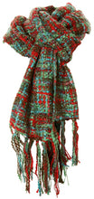 Handmade Thai Woven Teal Green Red Multi Scarf