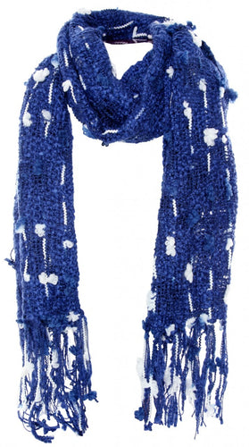 Handmade Thai Woven Blue and White Scarf