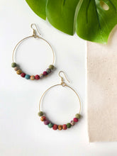 Recycled Kantha Textile Beads Fair Trade Large Hoop Earrings